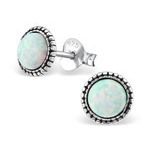 C130-C29346-FS - 925 Sterling Silver Fire and Snow Opal semi Precious Earings 7mm