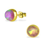 C460-C34488 - Gold Bubble Gem Pink Opal Earings 7mm, Stainless Steel