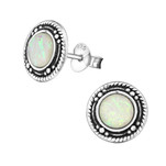C453-C32038 - 925 Sterling Silver Fire and Snow Opal Earings 9mm