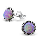 C131-C29346 - 925 Sterling Silver Bubblegum Opal Semi Precious Earings 7mm