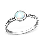 C171-C30659 - 925 Sterling Silver Fire and Snow Opal Ring