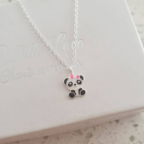 C901-C33462 - 925 Sterling Silver Children's Panda Bear Necklace