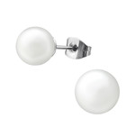C461-C31874 - Synthetic Pearl Earings 8mm, Stainless Steel