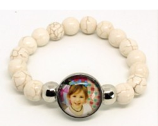 MD-08 - Mother's Personalized Photo Snap Button Stretch Bracelet in Gift Box