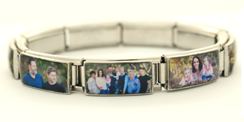 BB-04 - Personalized Photo Bracelet, 9 double links, Stretch fit