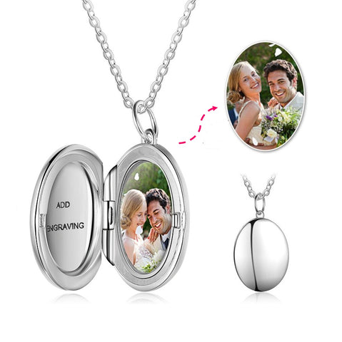 CAS101933 - 925 Sterling Silver Personalized Photo Locket Necklace