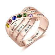 CRI103675 - Rose Gold Plated 925 Sterling Silver Personalized Ring