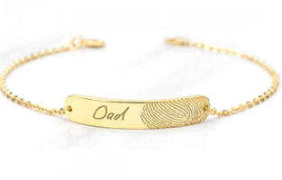 CAS101895 - Gold Plated 925 Sterling Silver Personalized Name & Fingerprint Bracelet