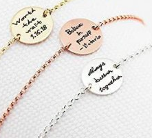 CAS101840 - 925 Sterling Silver / Gold / Rose Gold Personalized 15mm Disc Bracelet