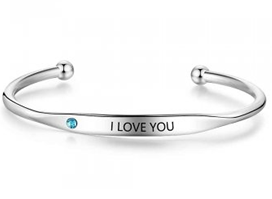 CBA102495 - Personalized Words & Birthstone Bangle, Silver Stainless Steel, 5mmx18cm