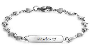 EJ107-CB0082427 - Personalized Heart Bracelet, Stainless Steel, Any Size Children - Adults