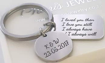 KR33 - Personalized Message with extra Tag Keyring, Stainless Steel