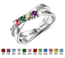 N305 - 925 Sterling Silver Personalized Family Names & Birthstones Ring