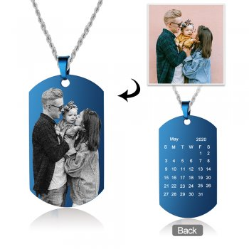 CNE105209 - Personalized Men's Photo Date Calender Dog Tag Chain, Stainless Steel