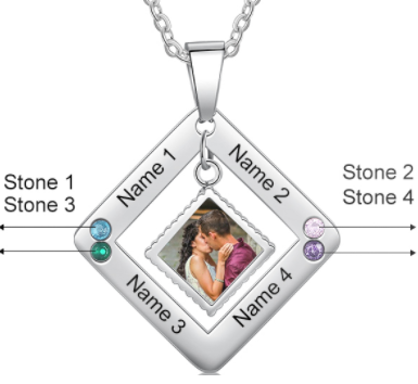 CNE105145 - Personalized Photo Necklace with engraving, Stainless Steel