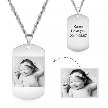 CNE104725 - Personalized Photo Necklace, Stainless Steel