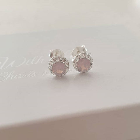 C1327-C37031 - 925 Sterling Silver Pink Swarovski Crystal Small Earrings 6mm
