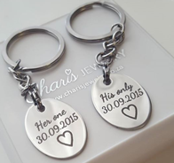 PK3 - Personalized Stainless Steel Couples Keyring Set