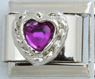 EL-051 - Purple Heart Italian Charm Link, Stainless Steel