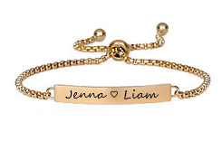 EJ108G-CB0086040 - Personalized Bracelet, Gold Stainless Steel, Adjustable Slide