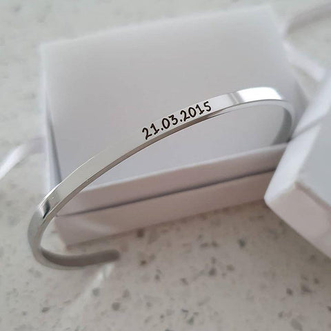 CBA101918 - Personalized Bangle, Silver Stainless Steel 3mm x 17cm