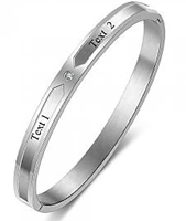 CBA102312 - Personalized Names Clip Open Bangle, Stainless Steel 19cm