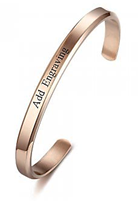CBA102300 - Personalized Bangle, Rose Gold Stainless Steel 6mm x 15.5cm