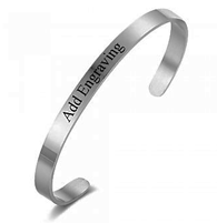 CBA101917 - Personalized Bangle, Silver Stainless Steel, 5mmx18cm