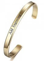 CBA102301 - Personalized Bangle, Gold Stainless Steel 6mm x 15.5cm