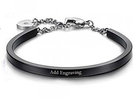 CBA102068 - Personalized Black Bangle, Stainless Steel, adjustable