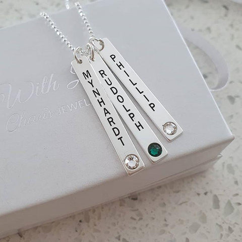 Personalized Bar Necklace with names and birthstones