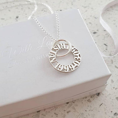 N141 - Personalized 925 Sterling Silver Mother Necklace - Up to 5 Discs