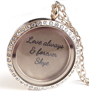 FL45 - High Quality Personalized Floating Locket Necklace Set with Personalized Disc