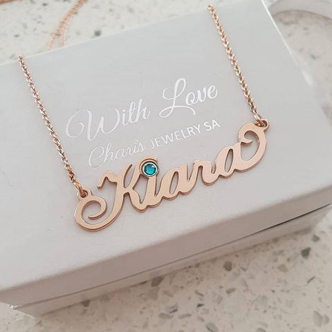 N63 - Rose gold Personalized Name Necklace, Carrie Style with birthstone
