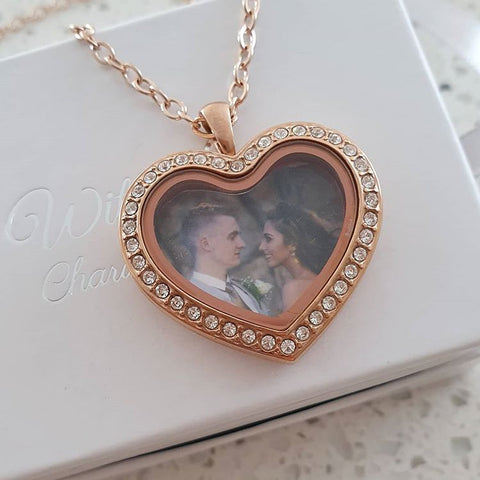 SET34 - Personalized Photo Heart Floating Locket Necklace, Rose Gold CZ Stones