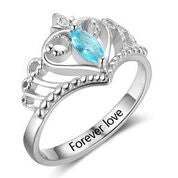 CRI102876 - 925 Sterling Silver Personalized Crown Birthstone Ring