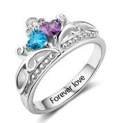 CRI102882 - 925 Sterling Silver Personalized Crown Birthstone Ring