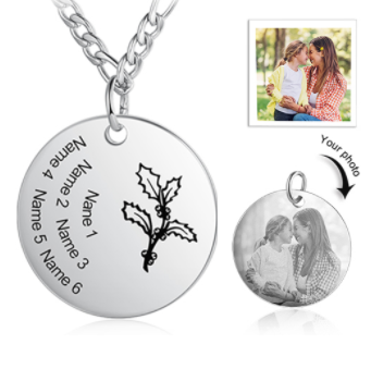 CNE105265 - Personalized Photo Birth Month Flower Necklace, Stainless Steel