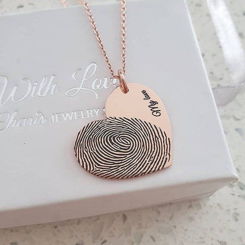 CAS101827 - Rose Gold Personalized Finger, Hand or Footprint Necklace