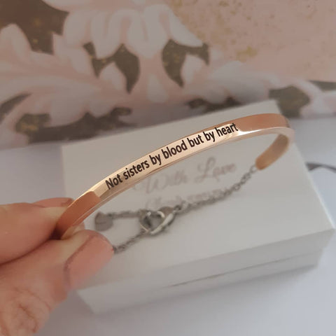 CBA102066 - Personalized Rose Gold Bangle, Stainless Steel, adjustable
