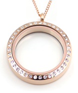 FL37 - Rose Gold CZ Floating Locket Necklace, Stainless Steel