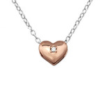 C416-C27794 - 925 Sterling Silver & Rose Gold Heart Necklace
