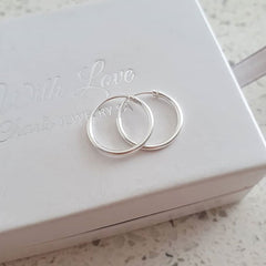 Sterling silver round hoop earrings 14mm