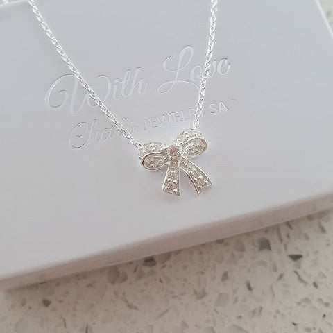 A90-C31115 - 925 Sterling Silver Ribbon Bow Necklace