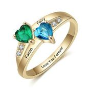 CRI102346 - Gold Plated Personalized Couples Names & Birthstones Ring (Size 5-12)