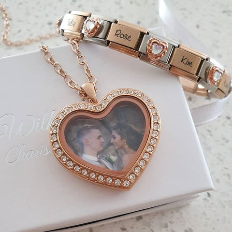 EST31 - Personalized Photo Locket & Italian Charm Bracelet Set, Rose Gold Stainless Steel