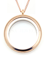 FL34 - Rose Gold Plated Stainless Steel Floating Locket Necklace