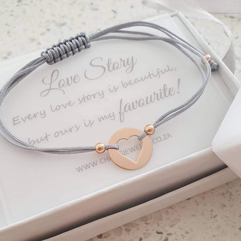 C971-C33158 - Rose Gold Heart Adjustable Cord Bracelet with Personalized Note