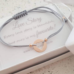 Rose gold heart love and friendship bracelet