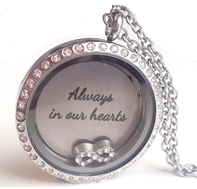 FL51 - High Quality Floating Locket Necklace Set with personalized disc & any floating charm
